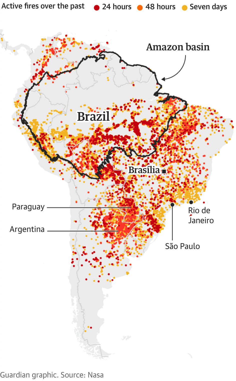 Map of fires throughout the Amazon basin/>