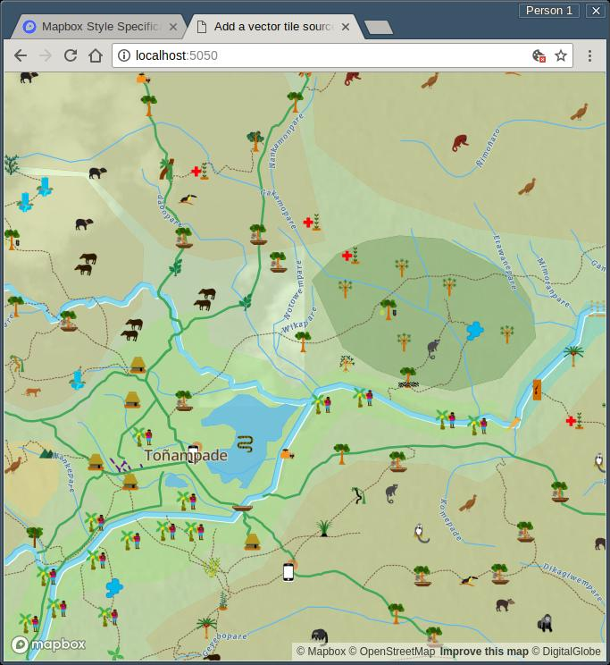 Screenshot of a vector tile view of map data gathered via Mapeo Mobile