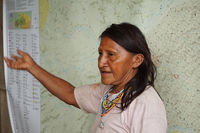 Waorani woman explains map