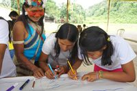 Waorani women drawing map